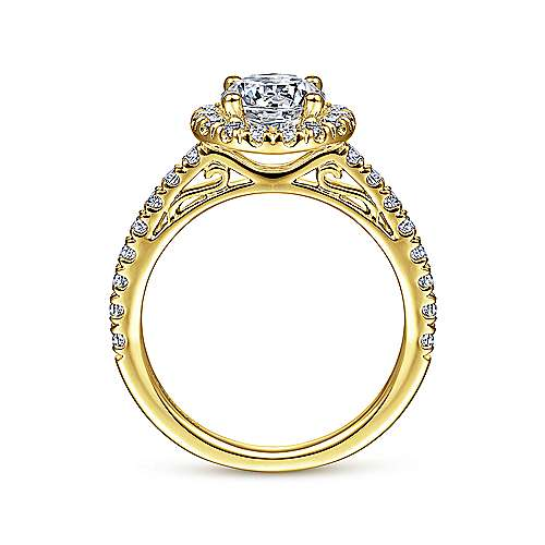 Rachel 14k Yellow Gold Round Halo Engagement Ring angle 2