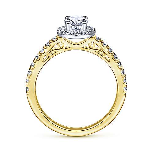 Rachel 14k Yellow/white Gold Oval Halo Engagement Ring angle 2