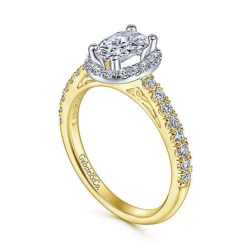 Rachel 14k Yellow/white Gold Oval Halo Engagement Ring angle 3
