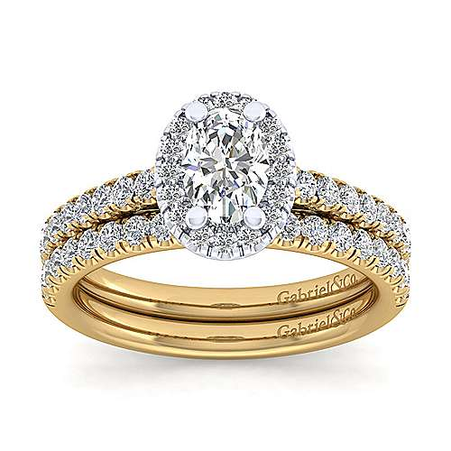 Rachel 14k Yellow/white Gold Oval Halo Engagement Ring angle 4