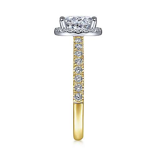 Rachel 14k Yellow/white Gold Oval Halo Engagement Ring angle 5