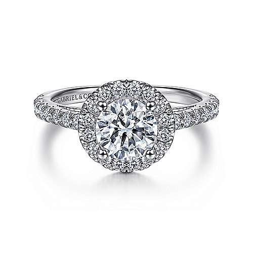 Gabriel - Rachel Platinum Round Halo Engagement Ring
