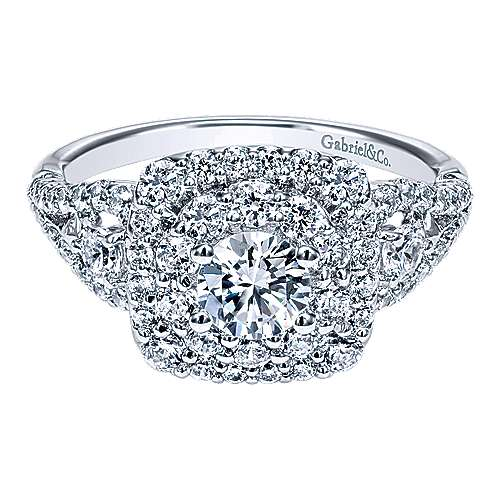 Gabriel - Radiance 14k White Gold Round Double Halo Engagement Ring