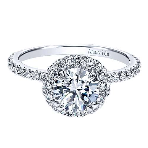 Gabriel - Rae 18k White Gold Round Halo Engagement Ring
