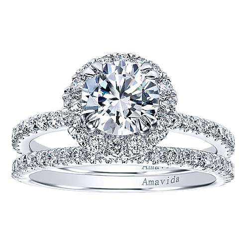 Rae 18k White Gold Round Halo Engagement Ring