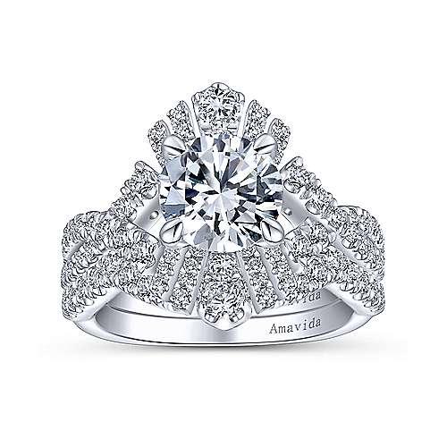 Ramona 18k White Gold Round Twisted Engagement Ring angle 4
