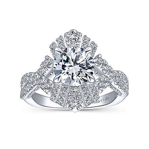 Ramona 18k White Gold Round Twisted Engagement Ring angle 5