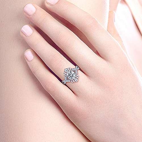Ramona 18k White Gold Round Twisted Engagement Ring angle 6