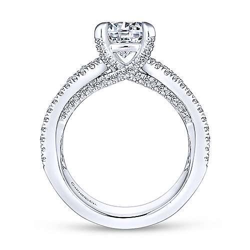 Randi 14k White Gold Round Straight Engagement Ring angle 2