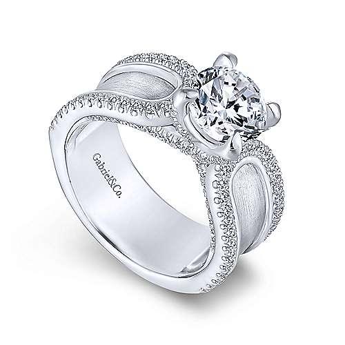 Randi 14k White Gold Round Straight Engagement Ring angle 3