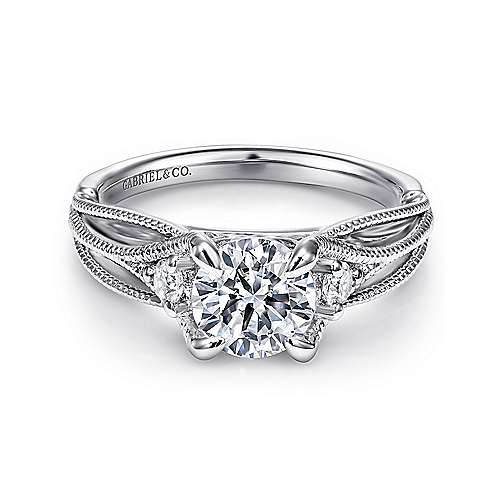 Gabriel - Ranunculo 18k White Gold Round Straight Engagement Ring