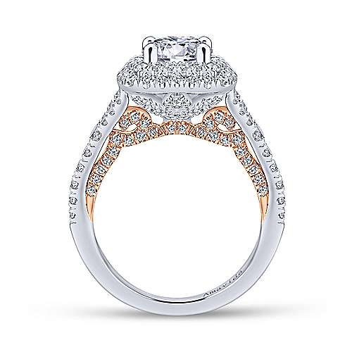 Raquel 18k White And Rose Gold Round Double Halo Engagement Ring