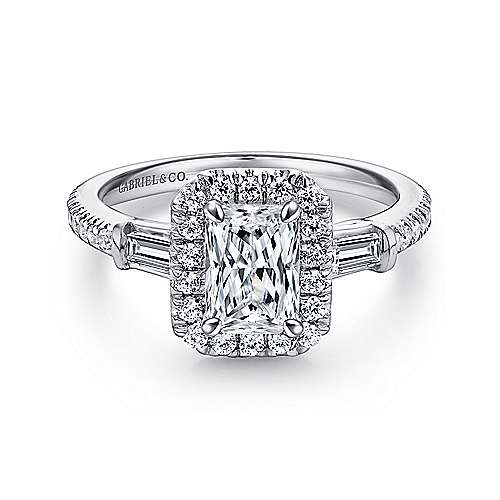 Gabriel - Raveena 14k White Gold Emerald Cut 3 Stones Halo Engagement Ring