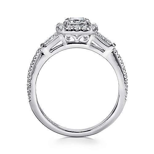Raveena 14k White Gold Emerald Cut 3 Stones Halo Engagement Ring angle 2