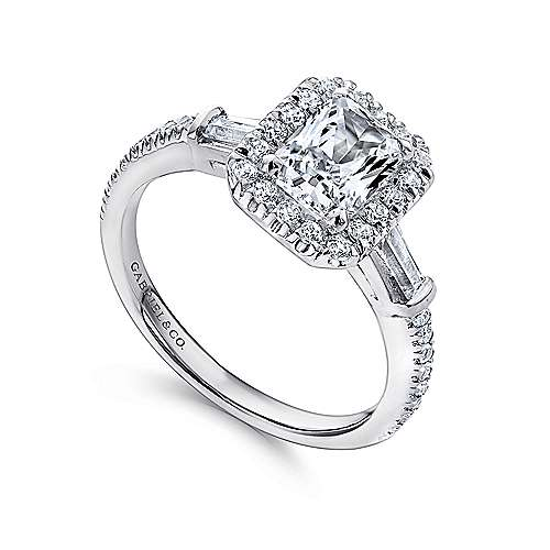 Raveena 14k White Gold Emerald Cut 3 Stones Halo Engagement Ring angle 3