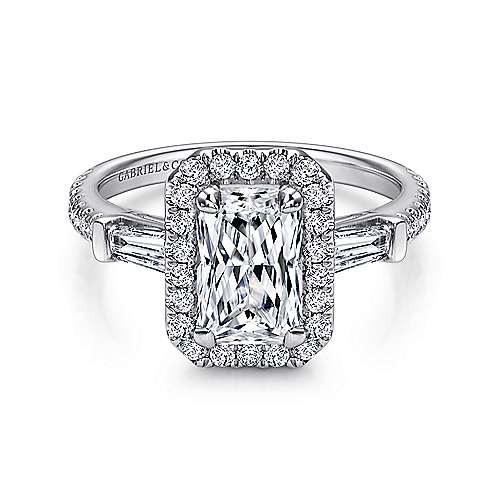 Gabriel - Raveena 14k White Gold Emerald Cut Halo Engagement Ring