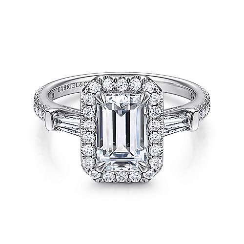Gabriel - Raveena 14k White Gold Emerald Cut Halo Engagement Ring
