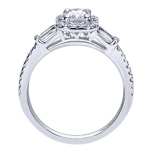 Raveena 14k White Gold Emerald Cut Halo Engagement Ring angle 2