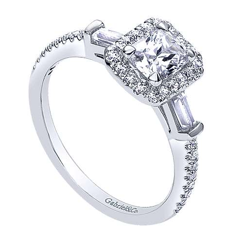Raveena 14k White Gold Emerald Cut Halo Engagement Ring angle 3