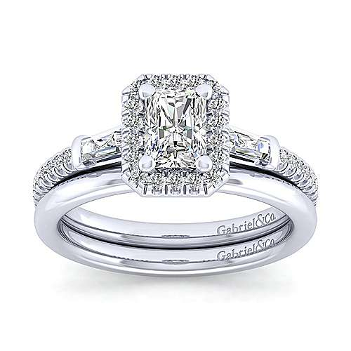 Raveena 14k White Gold Emerald Cut Halo Engagement Ring angle 4