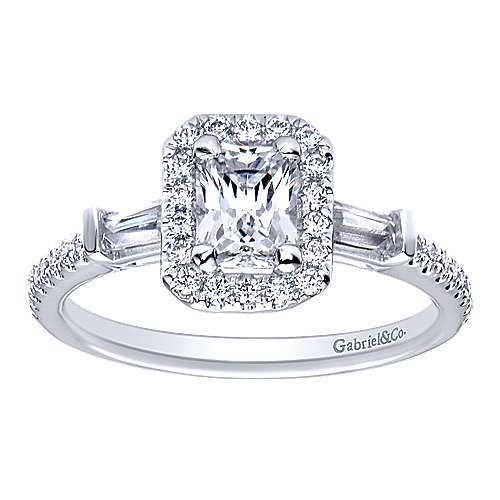 Raveena 14k White Gold Emerald Cut Halo Engagement Ring angle 5