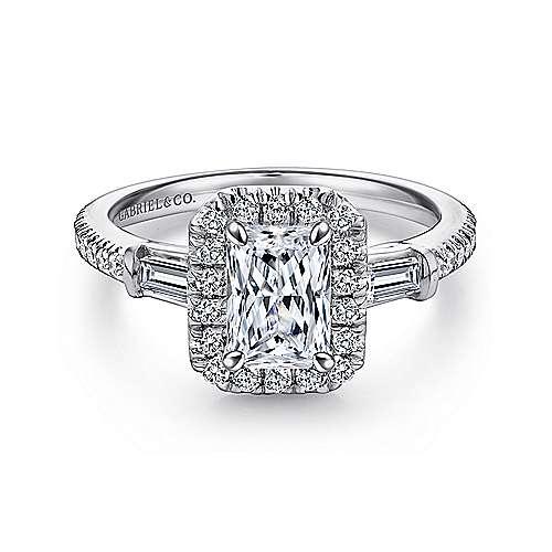 Gabriel - Raveena 18k White Gold Emerald Cut 3 Stones Halo Engagement Ring