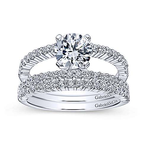 Ravenna 14k White Gold Round Split Shank Engagement Ring