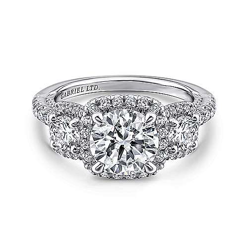Raya 18k White Gold Round 3 Stones Halo Engagement Ring angle 1