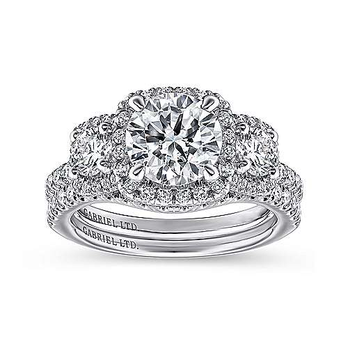 Raya 18k White Gold Round 3 Stones Halo Engagement Ring angle 4