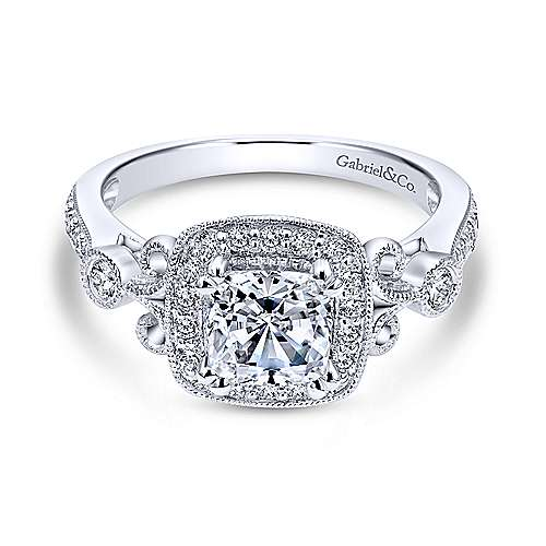 Reade 14k White Gold Cushion Cut Halo Engagement Ring angle 1