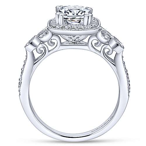 Reade 14k White Gold Cushion Cut Halo Engagement Ring angle 2