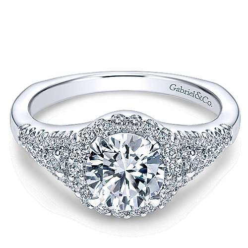 Gabriel - Reagan 14k White Gold Round Halo Engagement Ring