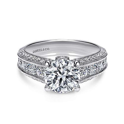 Gabriel - Rebecca 14k White Gold Round Straight Engagement Ring