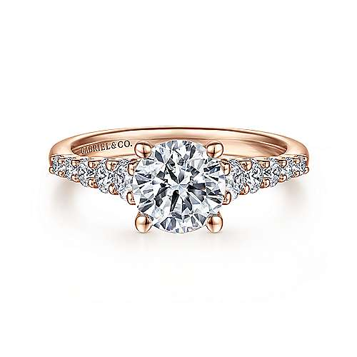 Reed 14k Rose Gold Round Straight Engagement Ring