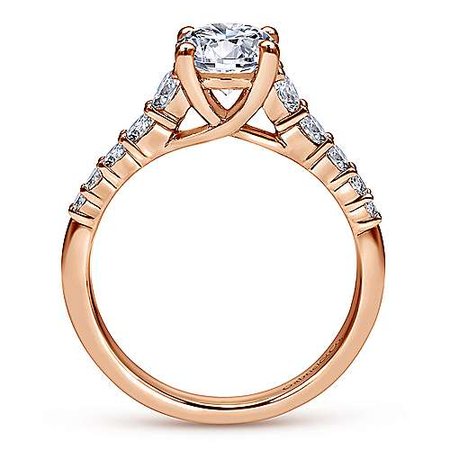 Reed 14k Rose Gold Round Straight Engagement Ring angle 2
