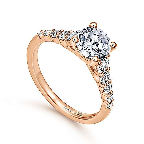 Reed 14k Rose Gold Round Straight Engagement Ring angle 3