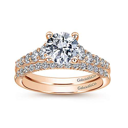 Reed 14k Rose Gold Round Straight Engagement Ring angle 4
