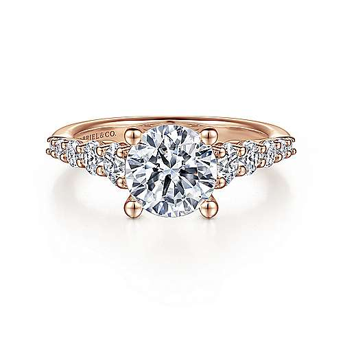Gabriel - Reed 14k Rose Gold Round Straight Engagement Ring