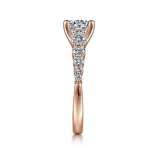 Reed 14k Rose Gold Round Straight Engagement Ring angle 5