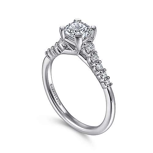 Reed 14k White Gold Cushion Cut Straight Engagement Ring