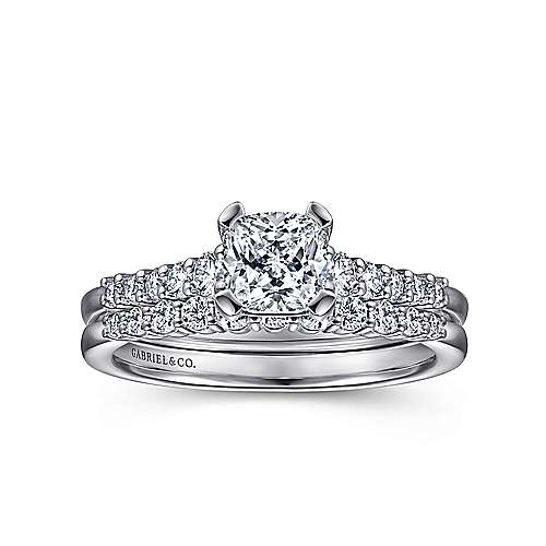 Reed 14k White Gold Cushion Cut Straight Engagement Ring angle 4