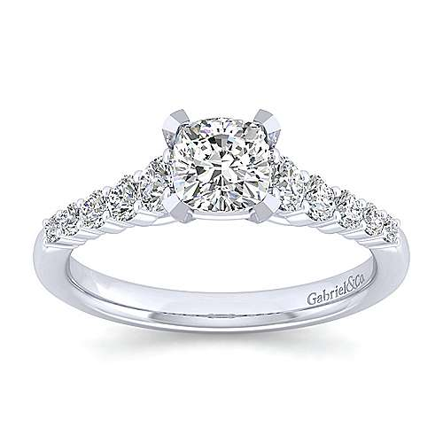 Reed 14k White Gold Cushion Cut Straight Engagement Ring angle 5
