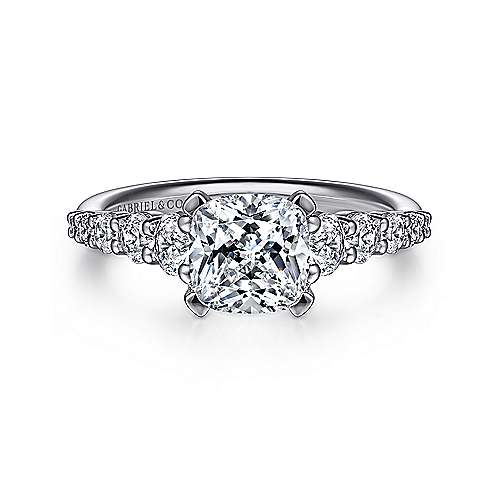 Gabriel - Reed 14k White Gold Cushion Cut Straight Engagement Ring