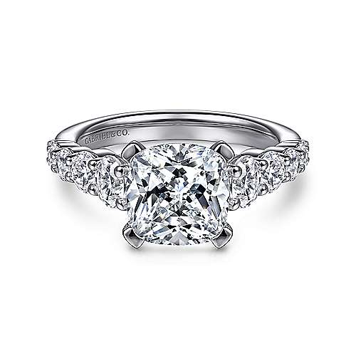 Reed 14k White Gold Cushion Cut Straight Engagement Ring angle 1