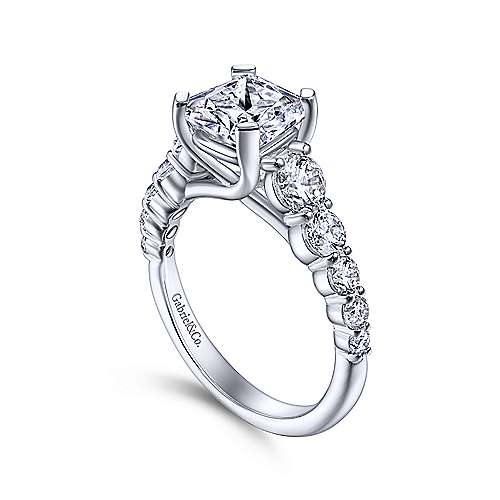Reed 14k White Gold Cushion Cut Straight Engagement Ring angle 3