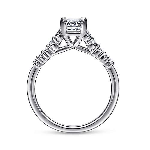 Reed 14k White Gold Emerald Cut Straight Engagement Ring angle 2