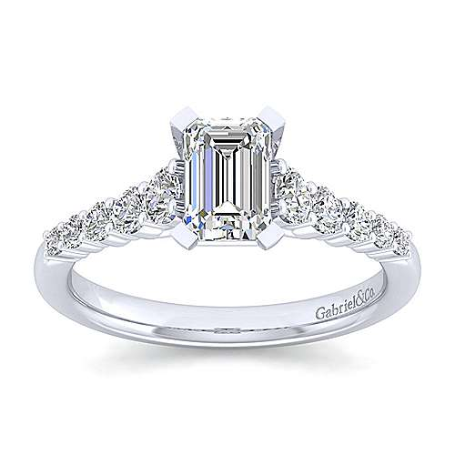 Reed 14k White Gold Emerald Cut Straight Engagement Ring angle 5
