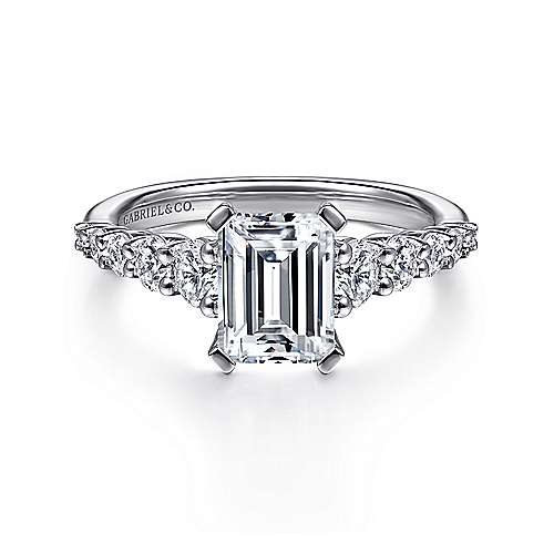 Reed 14k White Gold Emerald Cut Straight Engagement Ring angle 1