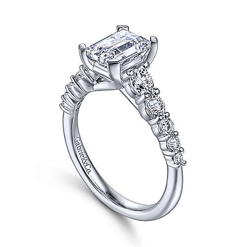 Reed 14k White Gold Emerald Cut Straight Engagement Ring angle 3