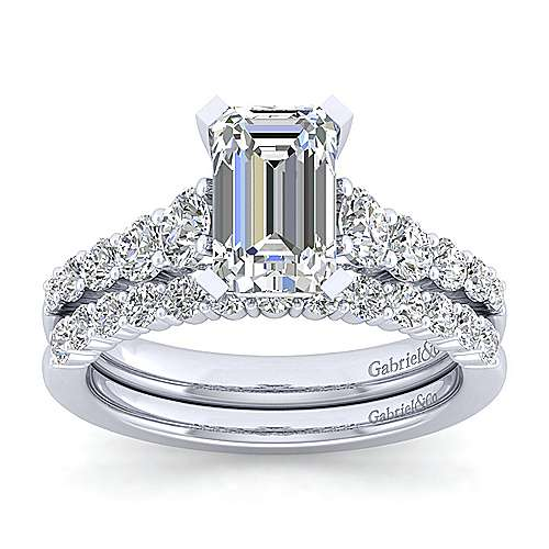 Reed 14k White Gold Emerald Cut Straight Engagement Ring angle 4